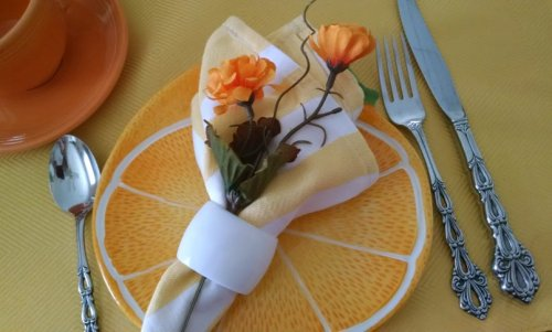 orange and yellow tablescape | Vintage Floral Cottage