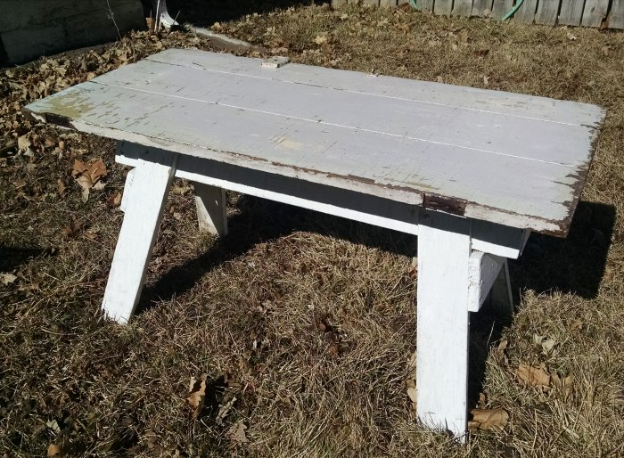 Upcycled Cottage Decor Project Sawhorse Coffee Table - Charming vintage diy sawhorse coffee table