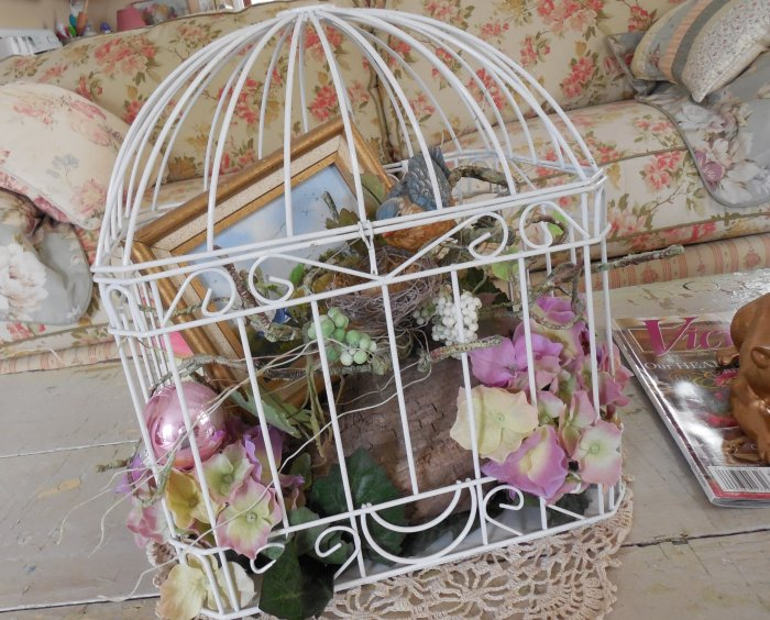 Faded Summer Birdcage | Vintage Floral Cottage