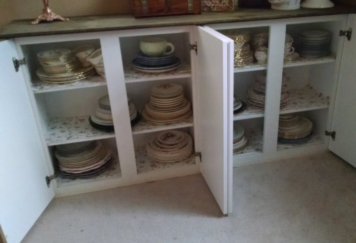 Custom dish storage | Vintage Floral Cottage