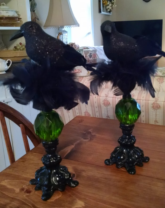 Perching Crow for Halloween | Vintage Floral Cottage