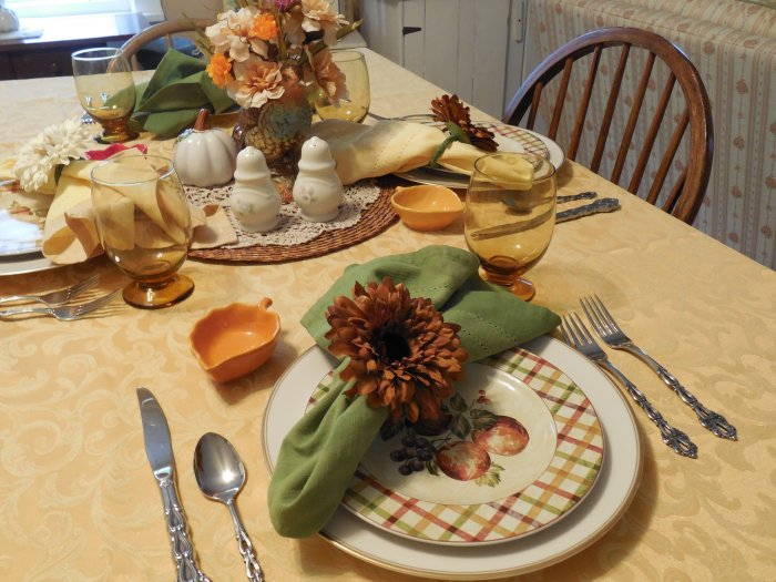 Pretty in Plaid Fall Table | Vintage Floral Cottage
