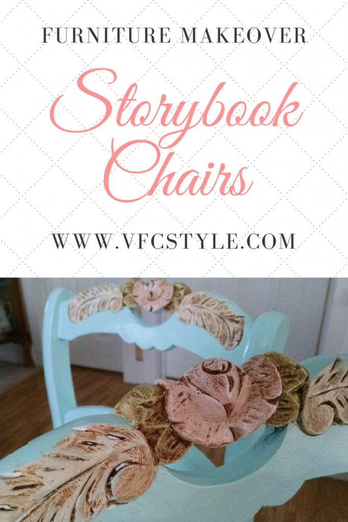 Vintage dining room chairs get a storybook fairy tale look makeover. Chairs fit for a princess. #paintedchairs #paintedfurniture #upcycledfurniture  #princesschair #furnituremakeover