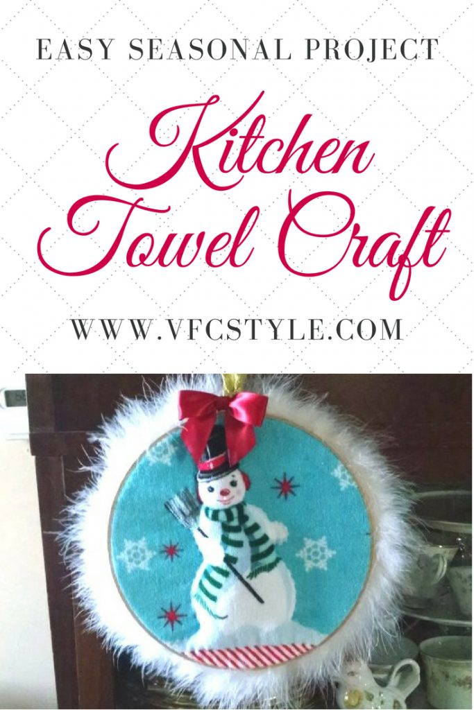 Cute quilted kitchen towel makes an easy seasonal wall hanging project at Vintage Floral Cottage! #kitchentowel #quiltedtowel #easycraftproject #kitchentowelcraft #snowmancraft #quiltedsnowman #snowmanwallhanging #quiltedwallhanging #wallhangingcraft #nosewcraft