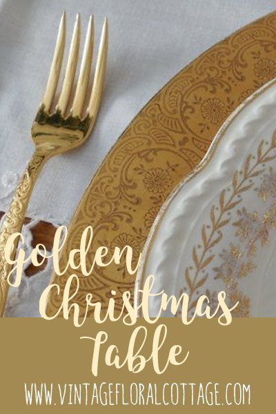 Golden Christmas Pin Image | Vintage Floral Cottage