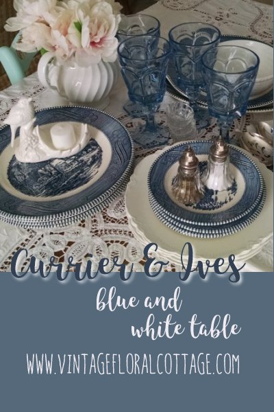 Currier & Ives Table | Vintage Floral Cottage