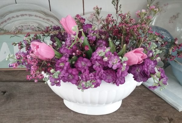 Tureen of flowers | Vintage Floral Cottage