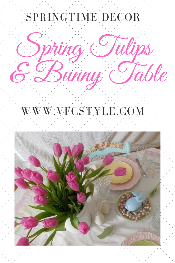 Spring Tulips Table | Vintage Floral Cottage