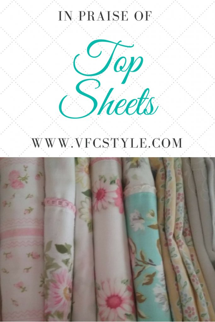Do you a) always or b) never use a top sheet? Read about the importance of top sheets at Vintage Floral Cottage! #cottagestyle #prettyflatsheet #flatsheets #foldfittedsheets #prettysheets #cottagedecor