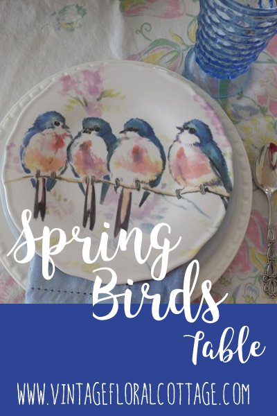 Bird Table Pin Image | Vintage Floral Cottage