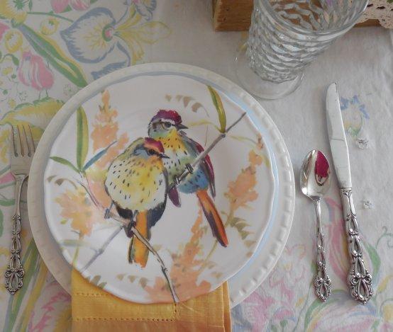 Pier 1 bird plates | Vintage Floral Cottage