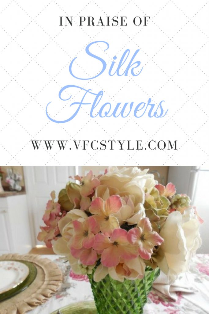 Is it okay to use silk flowers in decorating? Of course! I love to decorate with silk flowers. Learn why in this blog post from Vintage Floral Cottage. #silkflowers #silkflowerdecor #silkvsfresh #freshflowers #realflowers #decoratewithsilkflowers