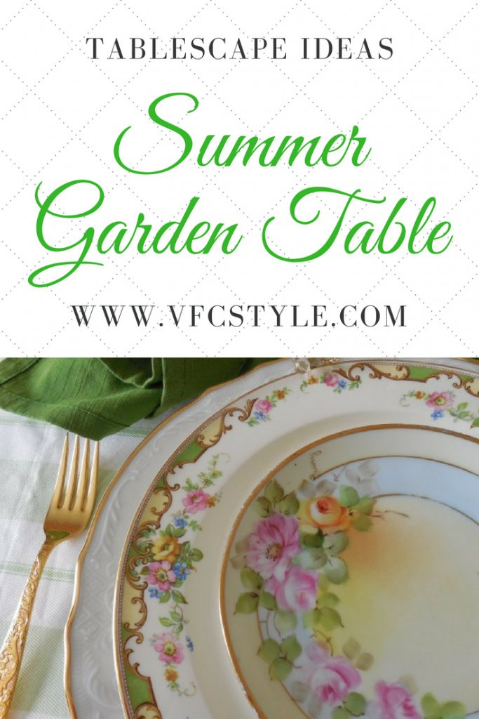 Vintage Edwin Knowles, Baum Brothers, and hand-painted Bavarian china combine to make this lovely garden-themed tablescape! Blog post by Vintage Floral Cottage. #tablescapeideas #prettytableideas #gardenthemetable #vintagechina #baumbrothers #edwinknowles #bavariachina #goldflatware #dollartree