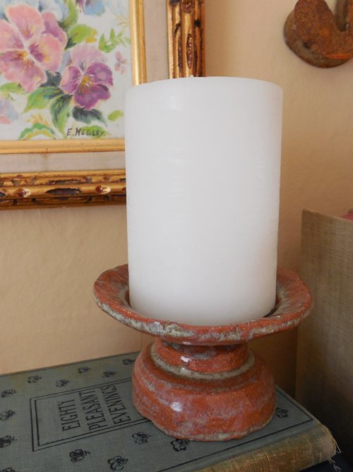 Pillar Candle holder | Vintage Floral Cottage
