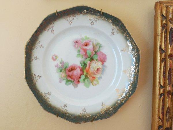 Faux Limoges Plate | Vintage Floral cottage