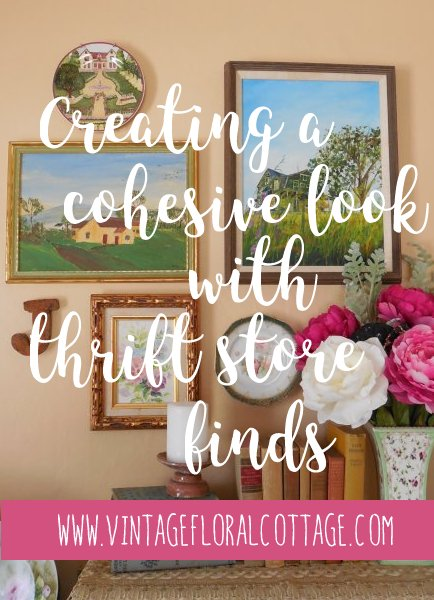 Create a cohesive look for your gallery wall with thrift store finds and flea market style | Vintage Floral Cottage