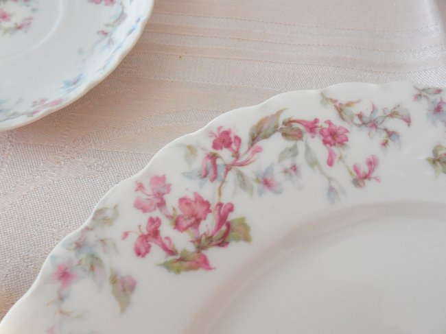 Faded Summer Early Fall Tablescape using antique Limoges china #fadedsummer #earlyfalltablescape #earlyfalldecorating #fadedfloraltable #tablescaping #prettytableideas