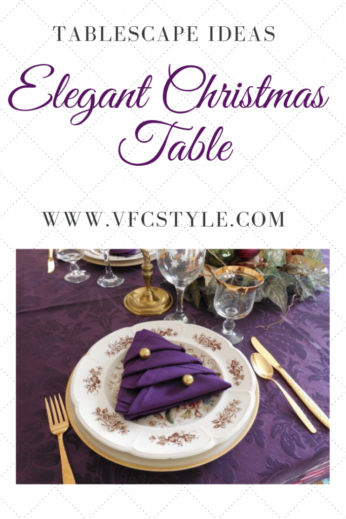 Elegant Christmas tablescape in purple and gold | Vintage Floral Cottage