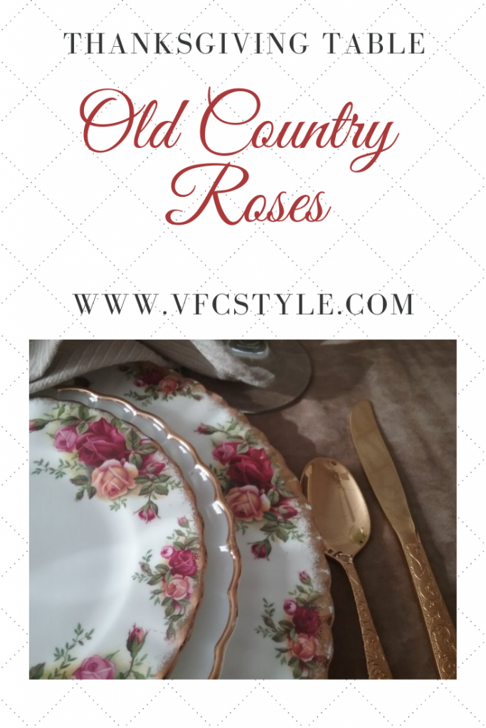 Thanksgiving Table with Old Country Roses | Vintage Floral Cottage
