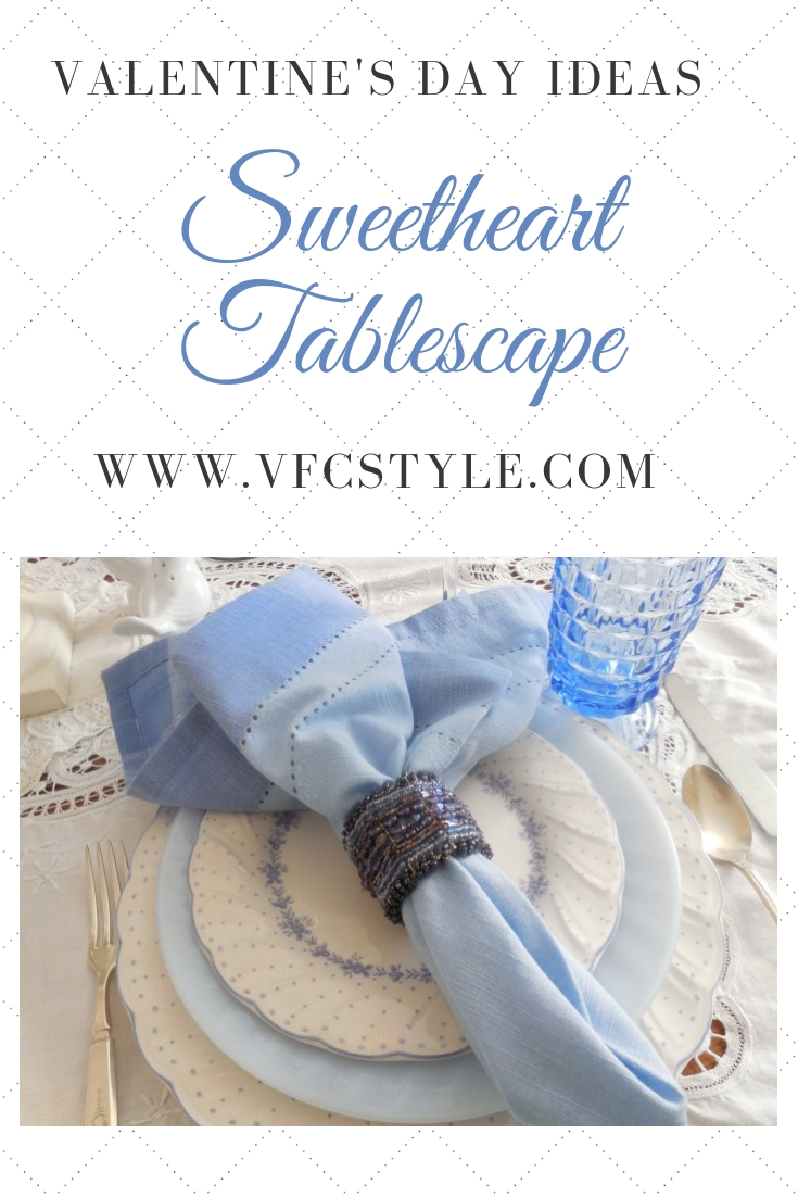 Sweetheart tablescape Valentine's Day | Vintage Floral Cottage
