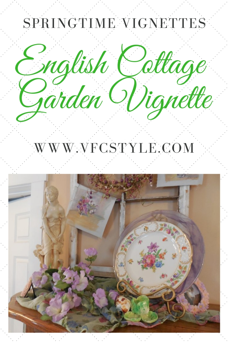English Cottage Garden Vignette | Vintage Floral Cottage