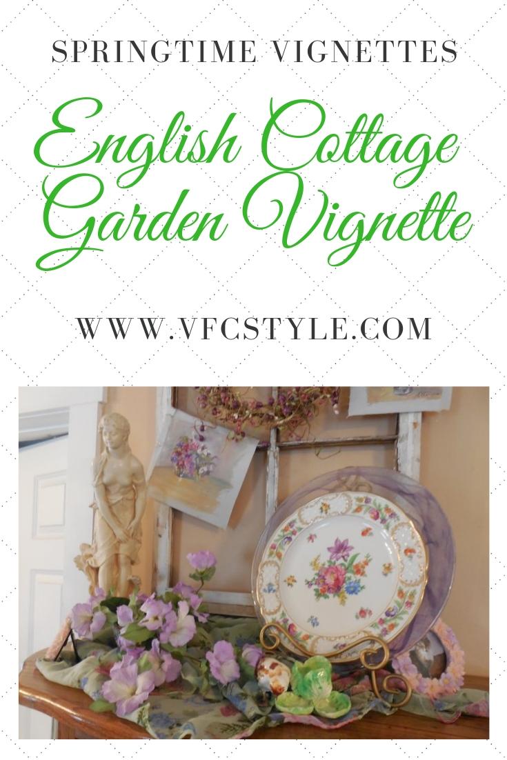 English Cottage Garden Vignette | Vintage Floral Cottage
