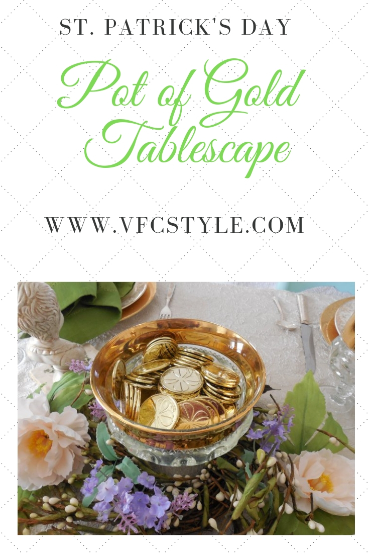 St Patrick's Table Pinterest Image | Vintage Floral Cottage