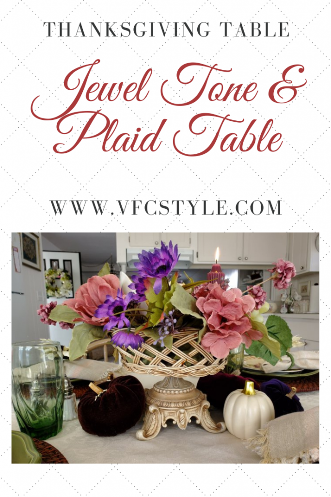 A Fall Thanksgiving tablescape in jewel tones and plaids at VFCstyle.com